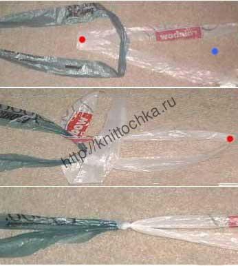 вязание из полиэтиленовых пакетов, пошагово