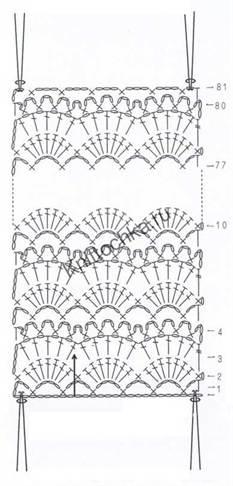 Схема вязания крючком шарфа-