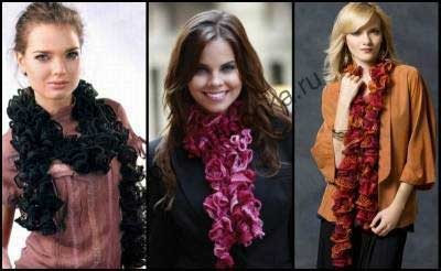 шарфы из широкой ленточной пряжи