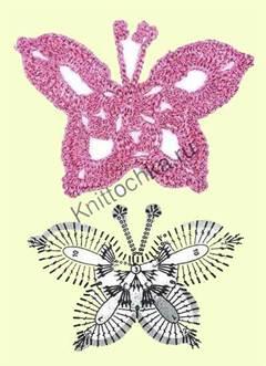 бабочка крючком из розовых ниток