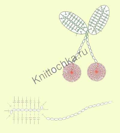 вишня с листьями крючком