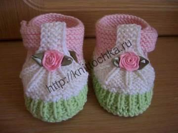 вязание пинеток для новорожденных девочек