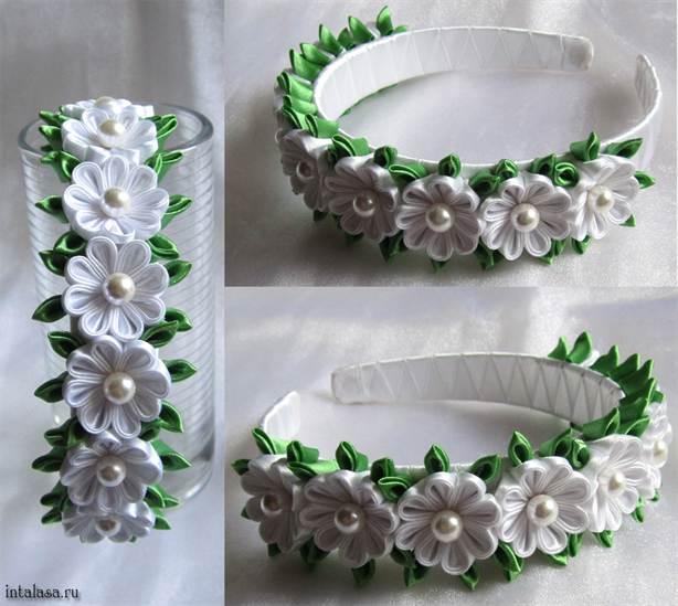 Цветы из ленты на ободок своими руками