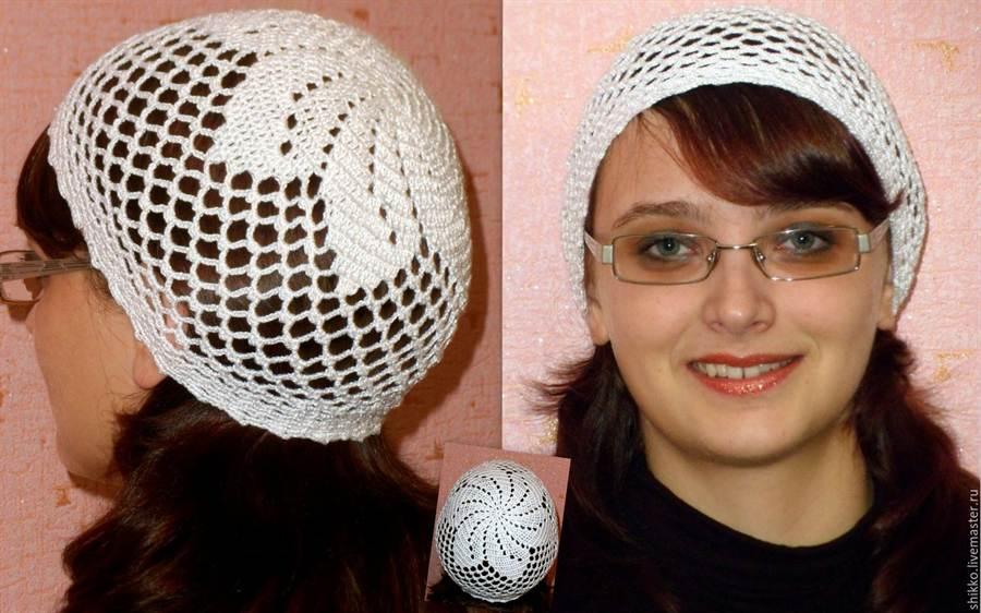 Вязание крючком женские шапочки летней 23