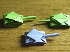 Сделать оригами танков из бумаги 155