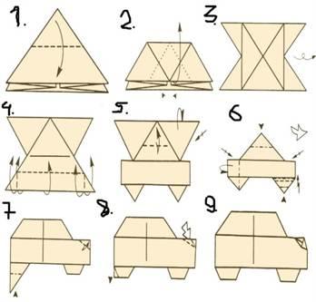 Из гоночная машина оригами схема бумаги ᐉ Машины