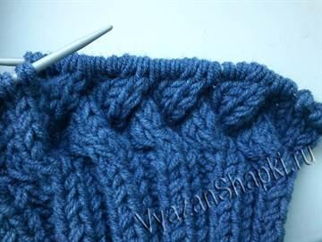 Шапка узором плетенка