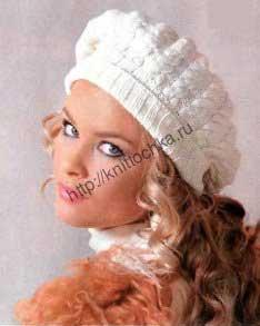 вязание спицами беретов для женщин на примере берета с косами