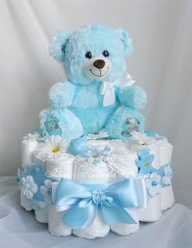 Торт из памперсов для девочки своими руками одноярусный 7