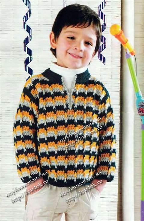 вязаный пуловер для мальчика описание и схема