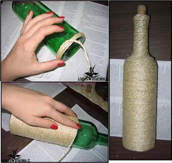 Декорирование бутылки своими руками мастер класс 63