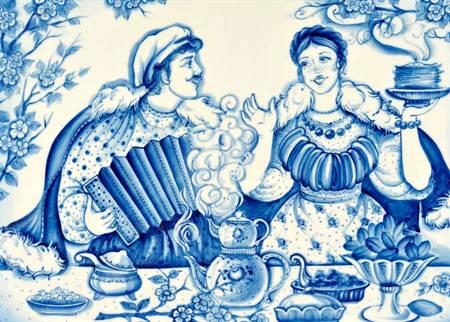 Сине -белый узор в интерьере Гжельская роспись