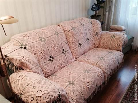 Вязание крючком покрывало на угловой диван 53