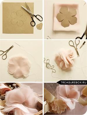 Инструкция как делать цветы из ткани