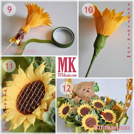 Как можно сделать цветок из гофрированной бумаги 184