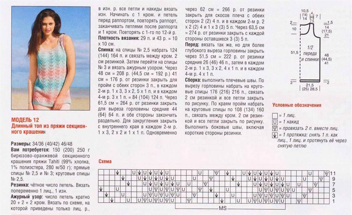 Вязание топов спицами схемы с описанием 544