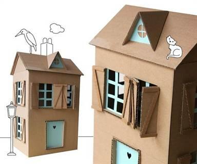 Маленький домик из картона для детей своими руками