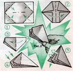 Как из бумаги сделать хлопушку схема