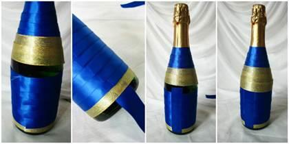 Как украсить шампанское на свадьбу атласными лентами своими 15