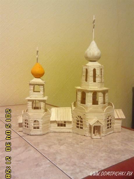 изделия из спичек домик из клеем инструкция