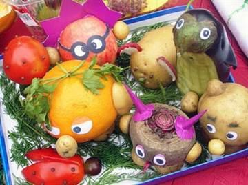 Поделка смешарики из овощей и фруктов 3