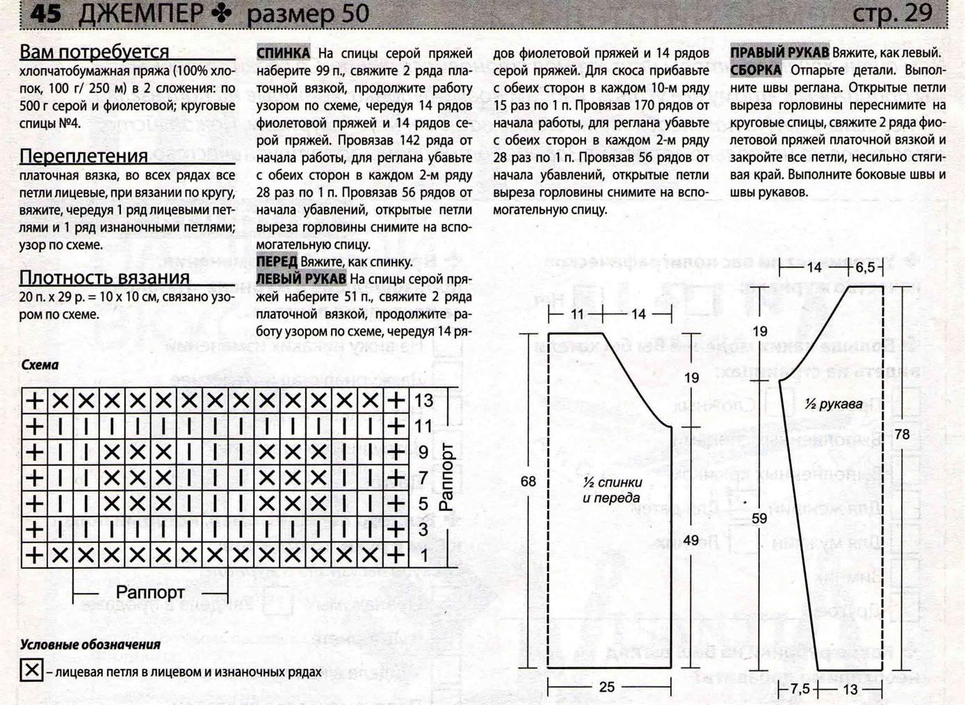 Схема вязания спицами свитера мужского для начинающих