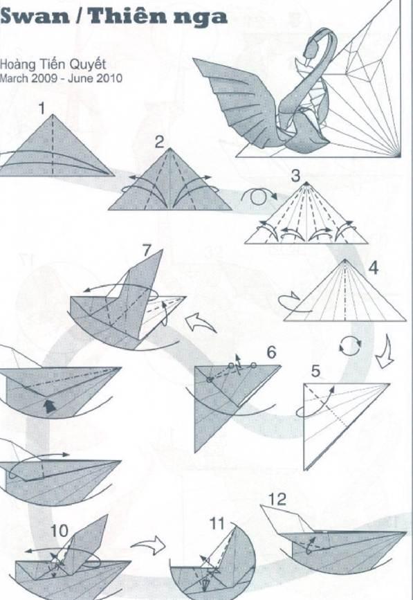 схема сборки маленького лебедя оригами мастер класс