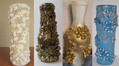 Как из банки сделать красивую вазу