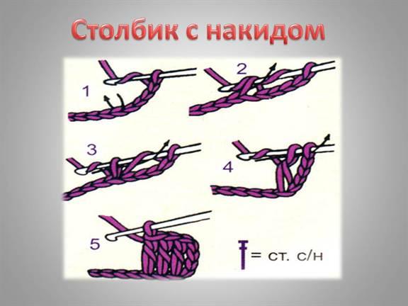 Вязание крючком столбик без накида схема 75