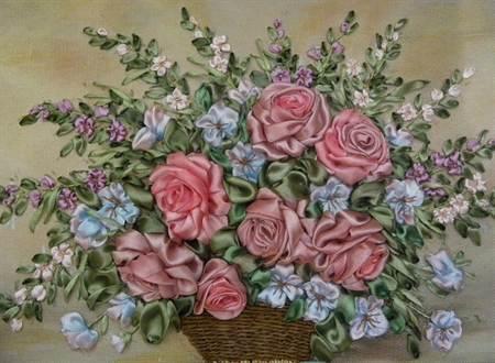 Вышивки лентами розы в корзине