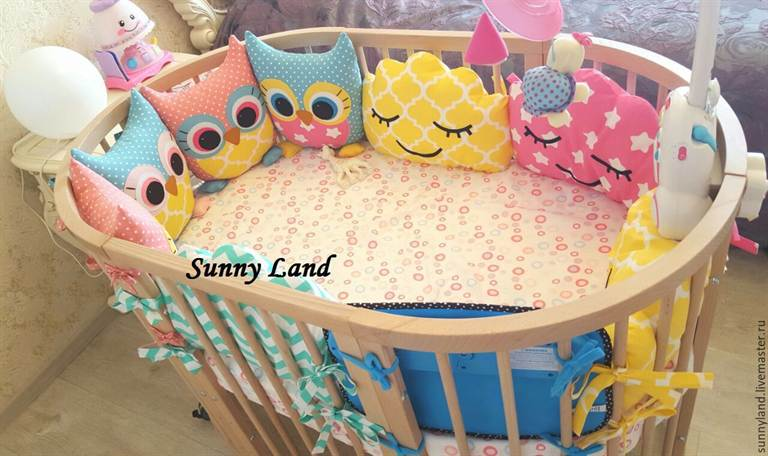 Совушки бортики в кроватку для новорожденных своими руками 70