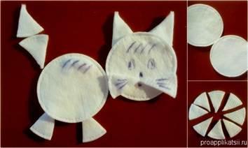 Поделки из ватных дисков кошка 63