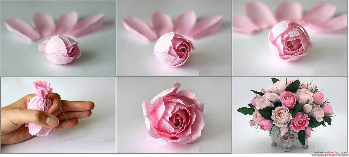 Роза из гофрированной бумаги и конфет мастер класс