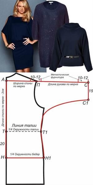 Выкройка платья для полных с рукавами