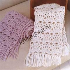 схема вязания ажурного шарфа крючком