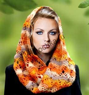 схема вязания крючком шарфа-снуда