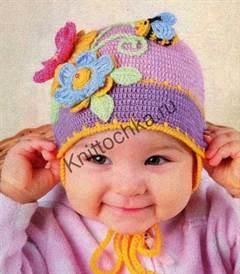 шапочка для девочки с пчелкой
