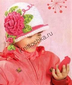 пышный цветок на детской шапке