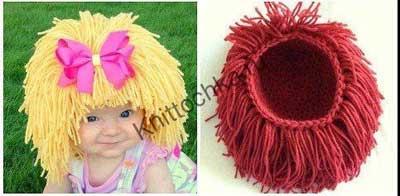 парик из ниток для девочки