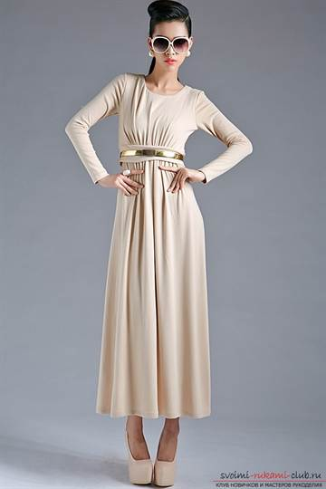 1-137 Выкройка платья с завышенной талией для полных и беременных дам