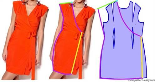 38e05752210 Неопытным мастерицам нужно делать отдельную выкройку для каждого платья.  Вот так выглядит базовая выкройка для платья с запахом