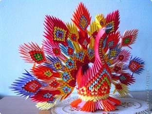 Как сделать павлина из бумаги модульное оригами фото 126