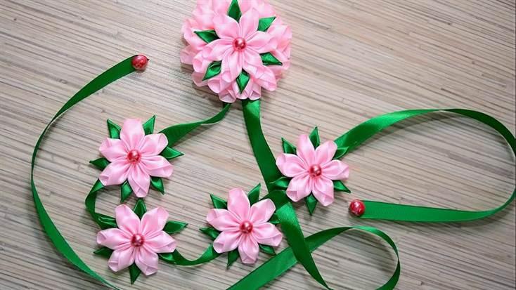 Ленты цветы из лент схемы