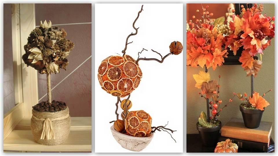 Осеннее дерево своими руками из природного материала фото 176