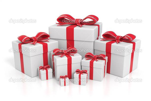 3d rendered white gift boxes with red ribbons - Isolated