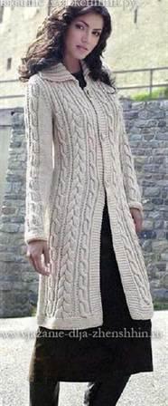 вязаные пальто спицами со схемами и описанием для женщин вяжем