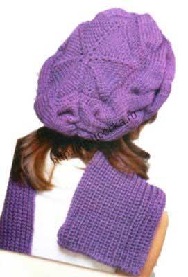 вязание спицами беретов для женщин на примере берета с поперечной косой