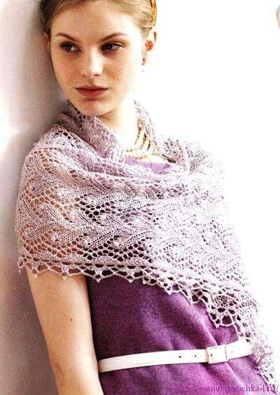 палантин крючком схема и описание вязания накидки для женщин с фото