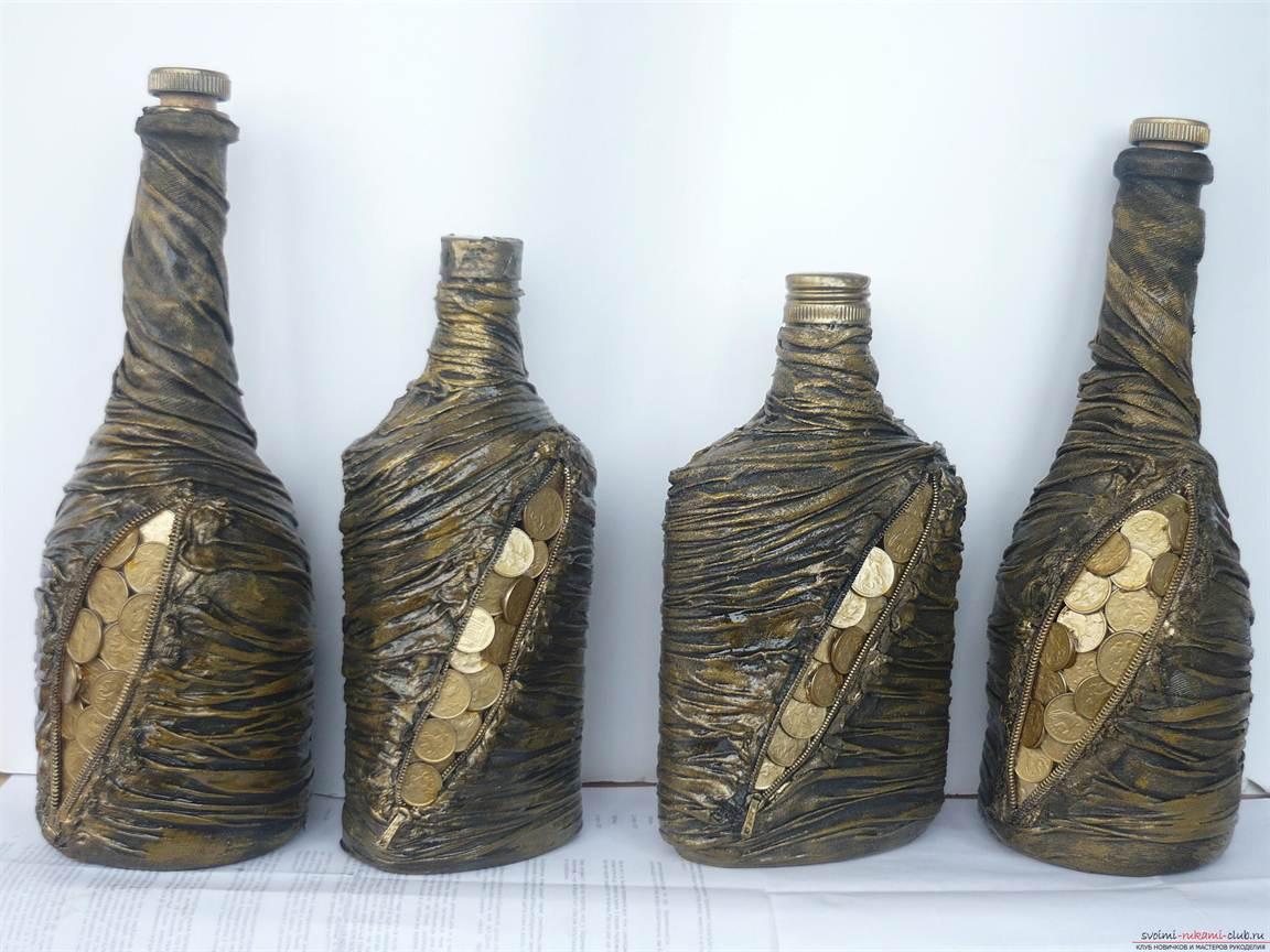 Декорирование бутылок своими руками мастер класс фото 392