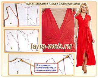 2-2440 Платье с драпировками: фото выкроек с видео